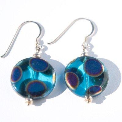 Sterling silver Aqua Peacock Disc Earrings