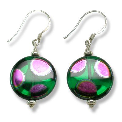 Sterling silver Emerald Peacock Disc Earrings