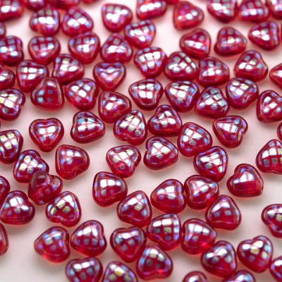 Teaberry Peacock Heart 6mm Pressed Czech Glass Bead