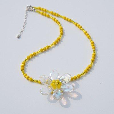 Yellow Daisy  Glass Bead Necklace