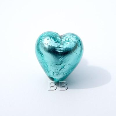 Zircon Heart 12mm Silver Foil Czech glass Lamwork Bead