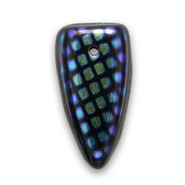 Jet Black Sharks Teeth with Tiny Square Peacock spots 8x15mm glass drop bead