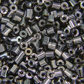 Preciosa Czech glass unica bead/seed bead 1.6mm Hematite coated precision cut tubes