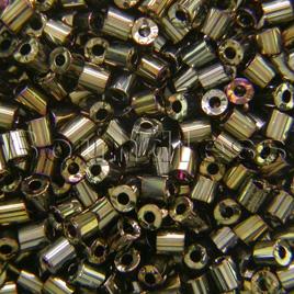 Preciosa Czech glass unica bead/seed bead 1.6mm Bronze iris coated precision cut tubes