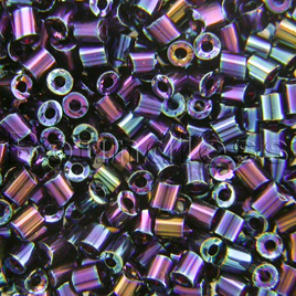 Preciosa Czech glass unica bead/seed bead 1.6mm Blue Iris coated precision cut tubes