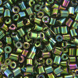 Preciosa Czech glass unica bead/seed bead 1.6mm Green Iris coated precision cut tubes