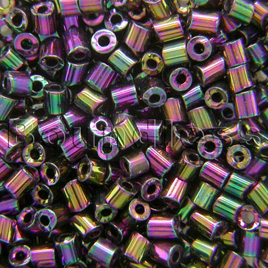 Preciosa Czech glass unica bead/seed bead 1.6mm Purple Iris coated precision cut tubes