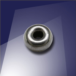 .925 Silver Black Finish 6mm Roundel with a 2.4mm hole - Retail system