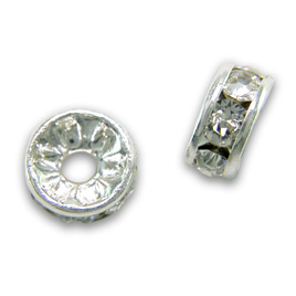 Premium quality 4/5mm rondelles with Swarovski crystal and a silver plated finish