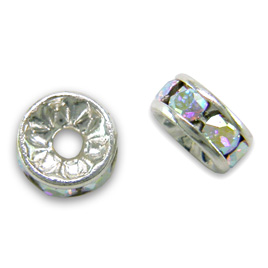 Premium quality 4/5mm rondelles with Swarovski crystal AB and a silver plated finish