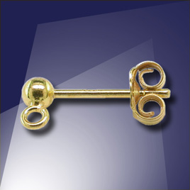 .925 Gold Finish 3mm Ball with Loop StudEarring