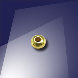 .925 Gold Finish 3mm Roundel with a 1.5mm Hole