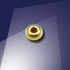 .925 Gold Finish 4mm Roundel with a 1.8mm Hole