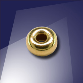 .925 Gold Finish 6mm Roundel with a 2.4mm hole