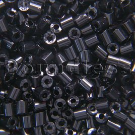 Preciosa Czech glass unica bead/seed bead 1.6mm Jet precision cut tubes