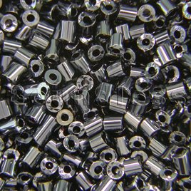 Preciosa Czech glass unica bead/seed bead 1.6mm Hematite coated precision cut tubes