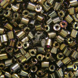 Preciosa Czech glass unica bead/seed bead 1.6mm Bronze iris coated precision cut tubes