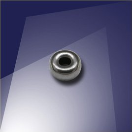 .925 Black Finish Sterling Silver 4mm Roundel with a 1.8mm Hole