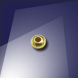 .925 Gold Finish Sterling Silver 3mm Roundel with a 1.5mm Hole