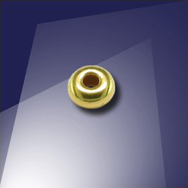 .925 Gold Finish Sterling Silver 4mm Roundel with a 1.8mm Hole
