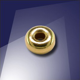 .925 Gold Finish Sterling Silver 6mm Roundel with a 2.4mm hole