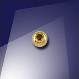 .925 Gold Finish 4mm Round Spacer Bead with a 1.5mm Hole