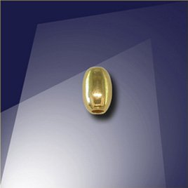 .925 Gold Finish Sterling Silver 3 x 4.65mm Oval with a 1.3mm Hole