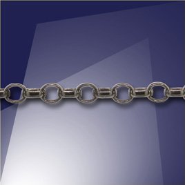 .925 Black Finish Sterling Silver Mini Oval Belcher Chain