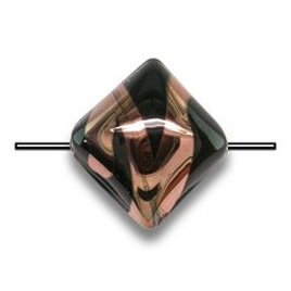 Black 12x12mm Diamond Cushion with Copper effect Czech glass Lampwork Bead