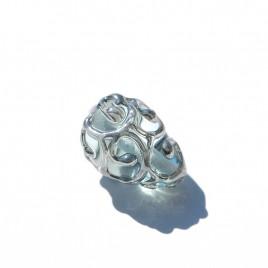 12x8mm Blue Glow Czech Glass Lampwork Bead Drop