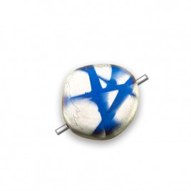 Strong Blue 15mm matt metallic fantasy bead with a 0.8mm hole.