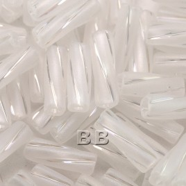 50 Grams 10x3.5mm Preciosa Czech glass bugle bead Clear rainbow matt with a shiny spiral stripe