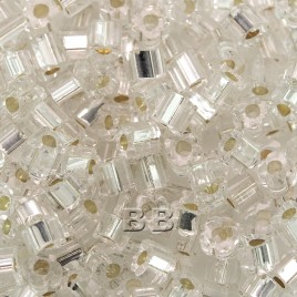 50 grams Preciosa 3.5x3.5mm 'Corolla bead' Clear silver lined  (Four petal flower in cross section)