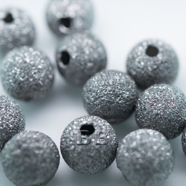 .925 Black Finish Sterling Silver 8mm Stardust Bead with 2mm Hole - Retail system