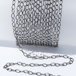 .925 Black Finish Sterling Silver Trace Chain Oval 4x2.5mm Links