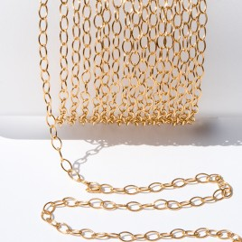 .925 Gold Finish Sterling Silver Trace Chain Oval 4x2.5mm Links