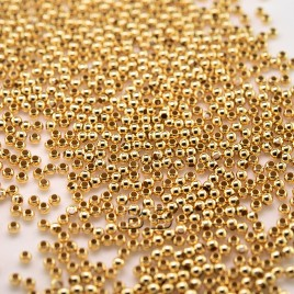 .925 Gold Finish Sterling Silver Bead or Crimp 1.8mm Dia with a 0.9mm Hole - Retail system