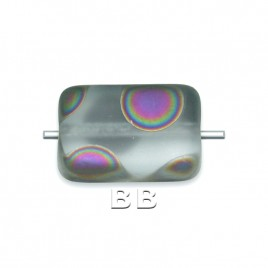 Alexandrite Peacock 12x8mm Rectangular Matt Pressed Czech Glass Bead - Retail system