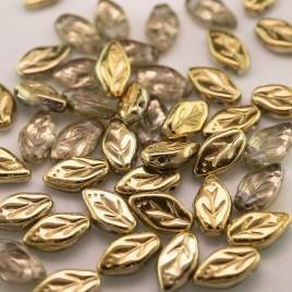 Amber wavy leaf 10x6mm glass bead.
