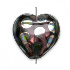 Amethyst Peacock 16x15mm Heart Pressed Czech Glass Bead