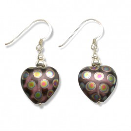 Amethyst Peacock Heart Bead Earrings