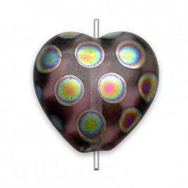 Amethyst Peacock  Matt Heart 16x15mm Pressed Czech Glass Bead