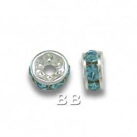 Aquamarine 4.5mm Silver Plate Czech Crystal Rhinestone Rondelle