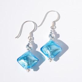 Aquamarine Artisan glass bead  Earrings
