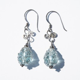 Aquamarine artisan glass earrings 12x8mm drops - .925 (Black finish)
