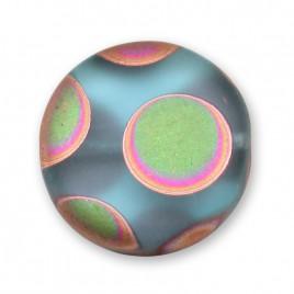 Aquamarine Matt Peacock Disc 17mm Pressed Czech Glass Bead