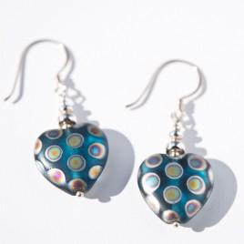 Aquamarine Peacock Heart Bead Earrings