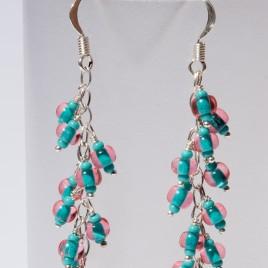 Atlantis Rose seed bead charm earrings 70mm in .925 silver