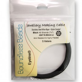 "Black Beading Wire  7x7 Coated Cable 0.60mm/.024"" Dia."