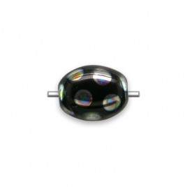 Black Peacock Beetle 7x9mm Pressed Czech Glass Bead - Retail system
